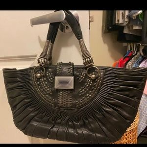 CHRISTIAN DIOR Lambskin Plisse Pleated Basket Tote